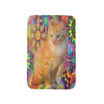 Psychedelic Cat Bathroom Mat Tie Dye Cat Bathroom Mat - cat cats kitten kitty pet love pussy