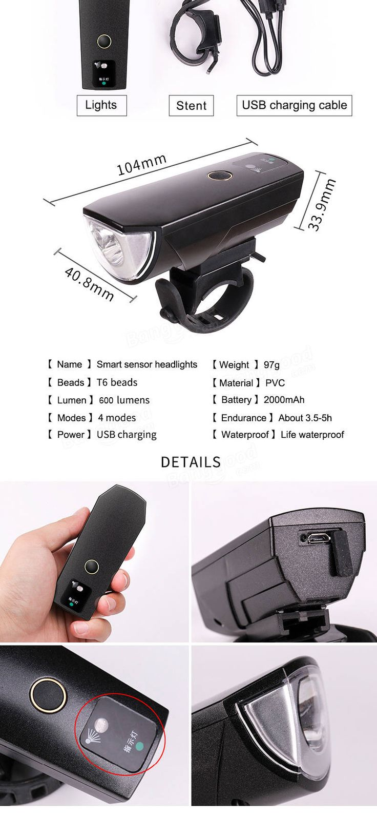 XANES SFL02 600LM T6 Smart Induction Bicycle Light IPX4 USB Rechargeable 80° Large Flood Light