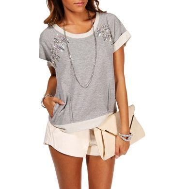 Heather Gray Embellished Sweatshirt