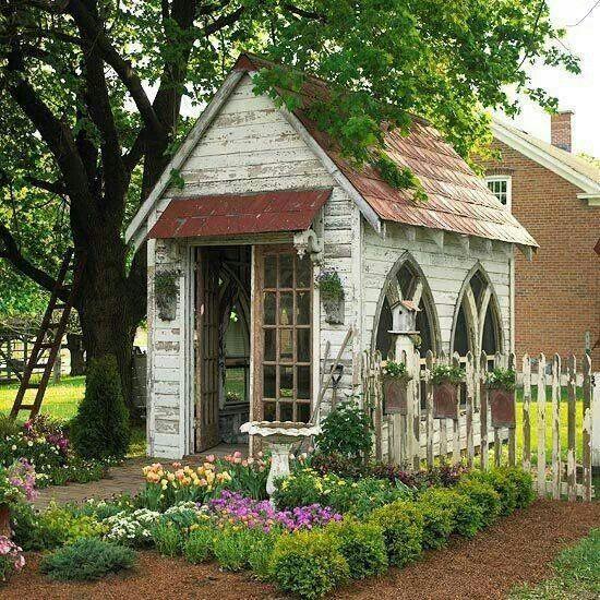 Church-windowed garden shed ... #potting shed #potting bench #gardening