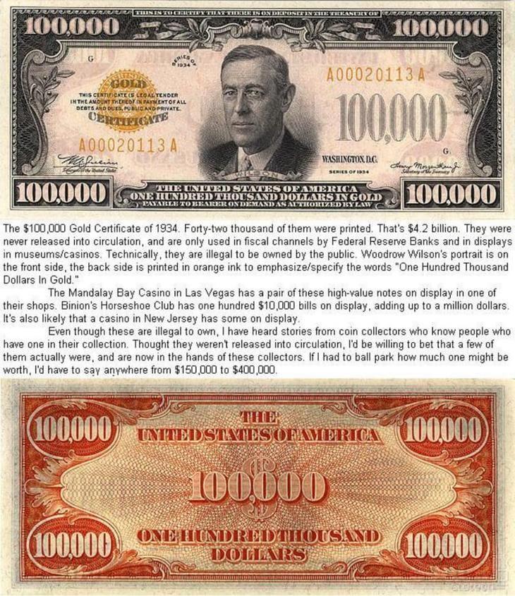 6. Банкнота с самым крупным номиналом из всех, когда-либо напечатанных в США