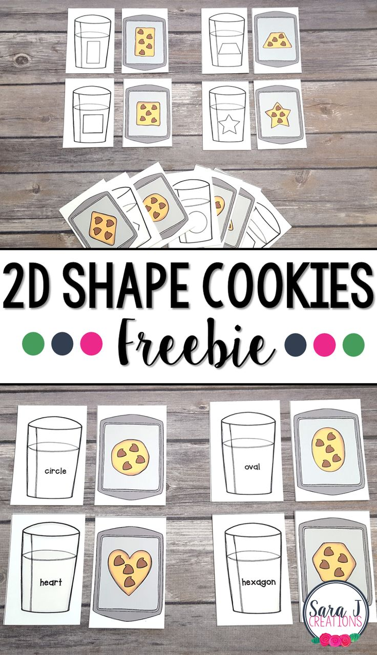 This 2D shape cookies and milk matching cards freebie are a fun way to practice shapes. Comes with a picture match  and a word match so it is perfect for preschool, kindergarten and lower elementary classrooms! #shapegames #freelessonplans