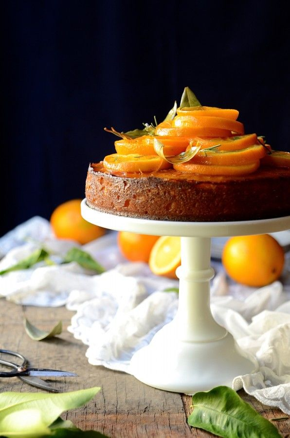 Semolina orange cake with rosemary syrup