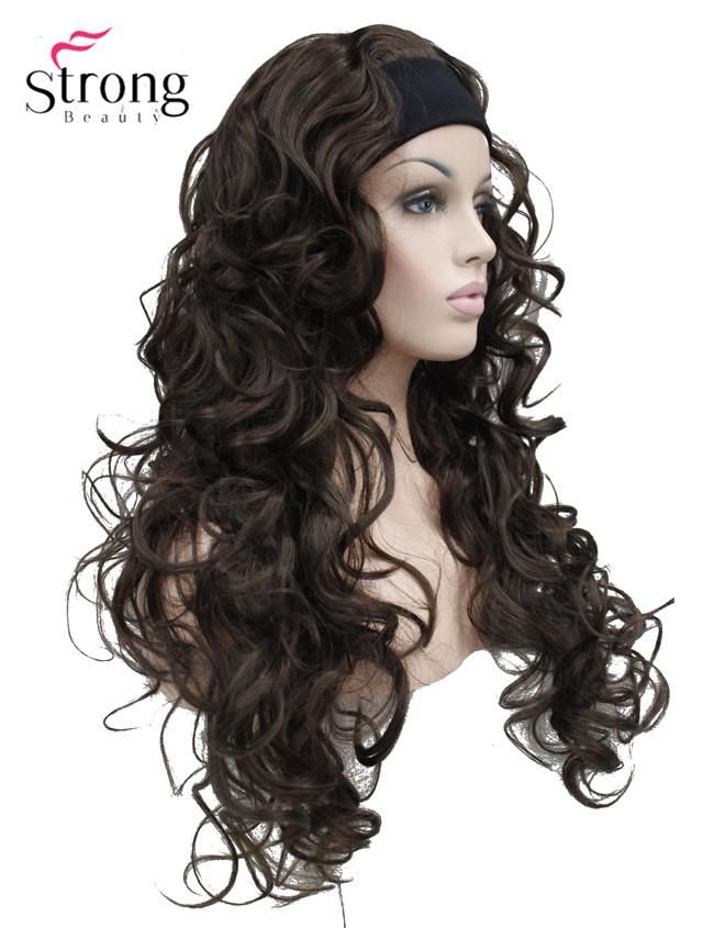 Long Curly Black,Brown,Blonde Synthetic HeadBand Wig Ladies 3/4 Wigs With headband COLOUR CHOICES