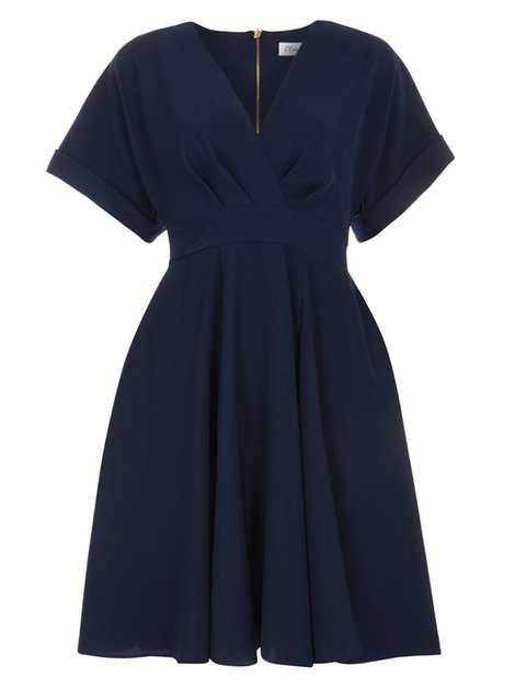 **Closet Navy Cross Over Flared Dress - Robes Ajustées & Évasées - Robes - Dorothy Perkins France