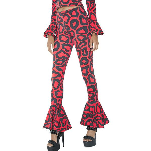 Leopard Ruffle Pants ($45) ❤ liked on Polyvore featuring pants, red flare pants, stretch waist pants, patterned pants, flare pants and red stretch pants