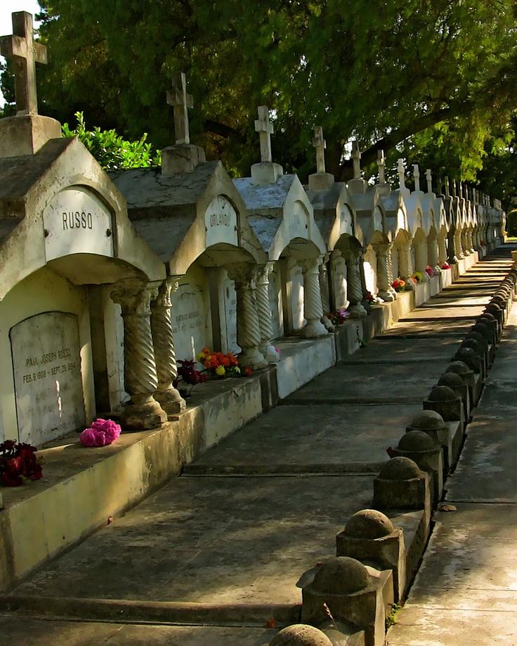 Row of family crypts at the Santa Clara Mission Cemetery in Santa Clara, California.