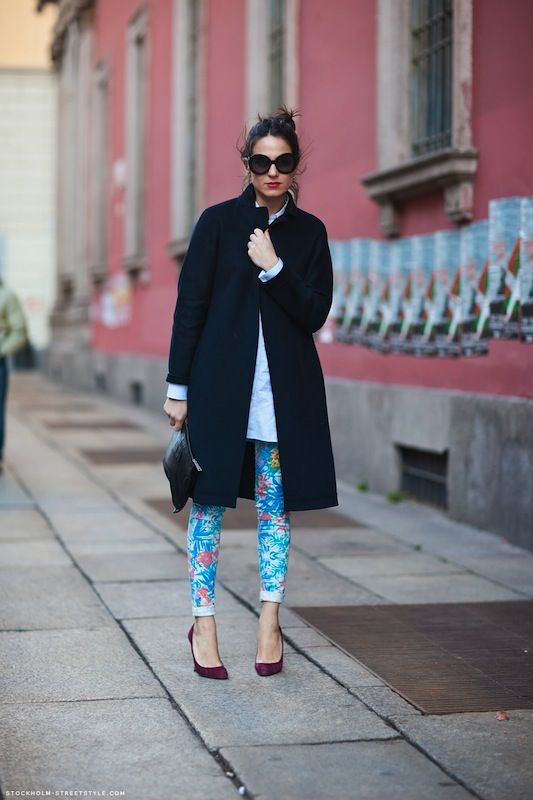 paradise print denimStockholm Street Style, Floral Prints, Prints Pants, Fashion Style, Street Style, Classic White, Floral Pants, Coats, Alex O'Loughlin