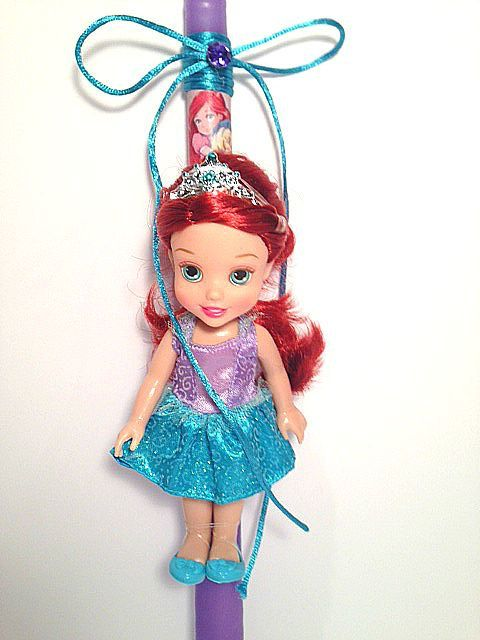Greek Wedding Shop - Little Mermaid Ariel Doll Easter Candle. Easter Candles to hold the night of Anastaci (http://www.greekweddingshop.com/little-mermaid-ariel-doll-easter-candle/)