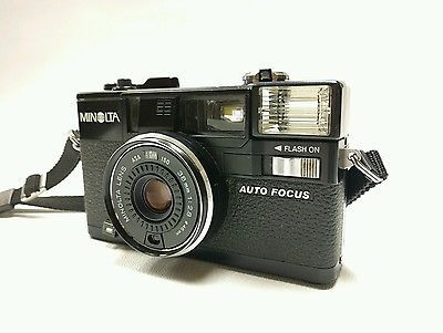Minolta HI-MATIC AF2 35mm Auto Focus Camera w 38mm 1:2.8 Lens with Strap Tested