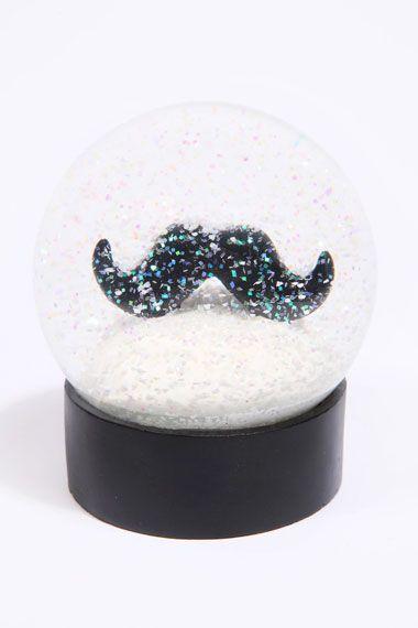 Moustache Snow Globe