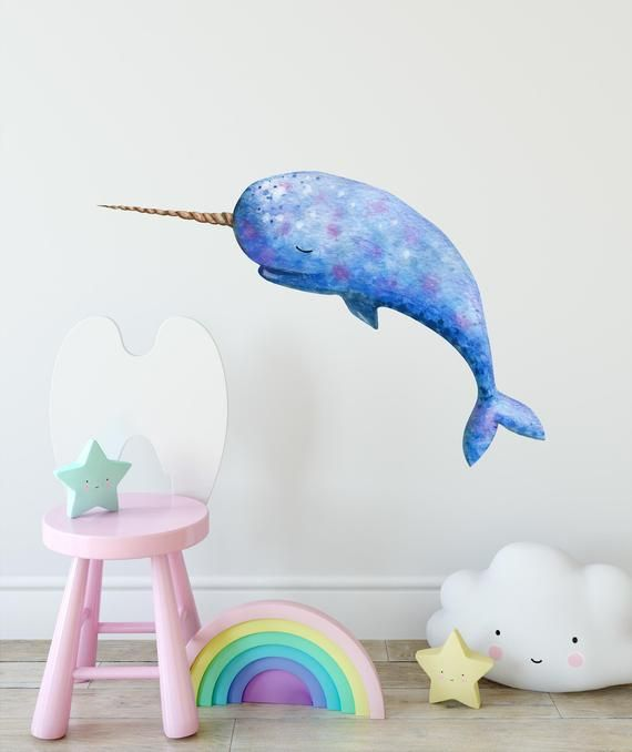 Sleepy Narwhal Whale Wall Decal Watercolor Wall Sticker Removable