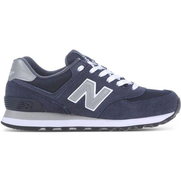 New Balance Low-Tops & Trainers found on Polyvore featuring shoes, sneakers, dark blue, flat shoes, rubber sole shoes, new balance footwear, dark blue shoes and new balance