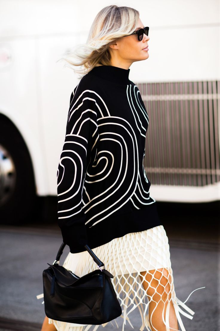 Street style at Australia Fashion Week 2016 | Black sweater + knit skirt [Photo: Melodie Jung]