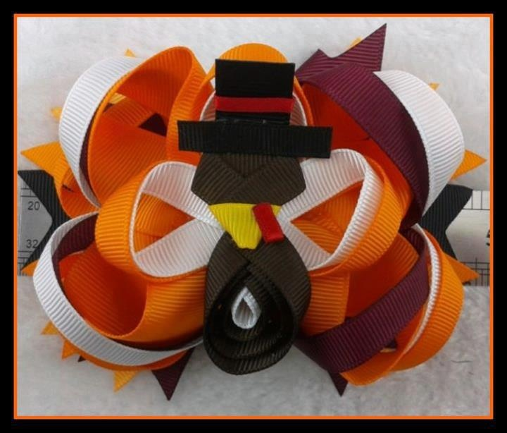 Perfect for Fall and Thanksgiving!  5 inch Boutique Turkey Bow/alligator clip  $8.50 Shipped   (6 Available): Thanksgiving Turkey, Girly Hair, Hair Clips Bows Barrettes, Hairbows Holidays, Girl Bows, Baby Girl Hair, Thanksgiving Baby, Baby Girls, Girl Hair Bows