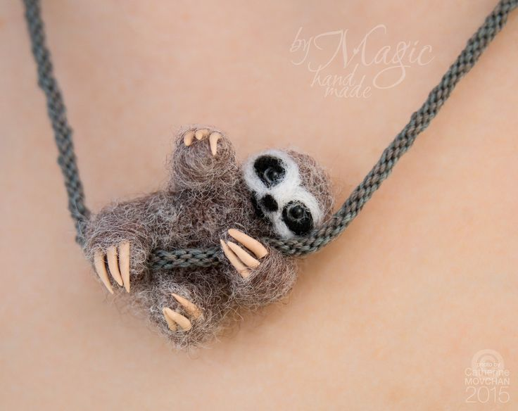 Felted sloth on braided necklace, kumihimo, needle felted animal, felt jewelry, miniature, gift, braided necklace, summer gift - pinned by pin4etsy.com