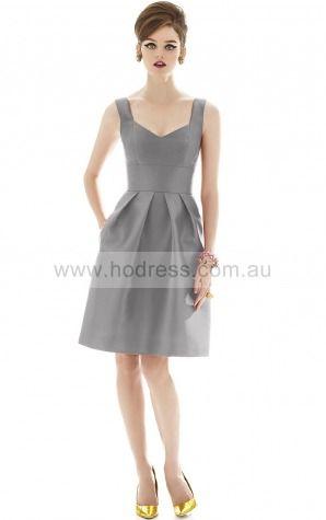 Satin V-neck Natural A-line Knee-length Bridesmaid Dresses 0800076--Hodress