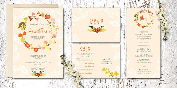 Love and Ink Wedding Stationery's Flower Chains stationery suite. Www.loveandink.com.au