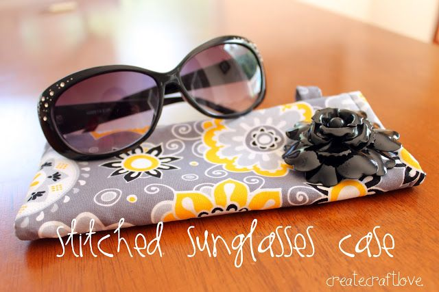 Stitched Sunglasses Case via createcraftlove.com #sewing #sunglassescase