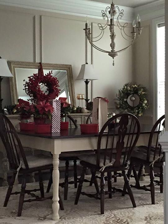 Oak dining room table and chairs painted with Annie Sloan Old Ochre and Java Gel.