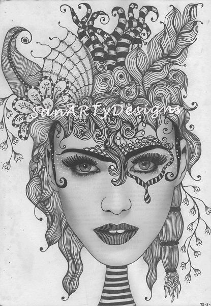 168 best images about zentangle hair on pinterest lady for Doodle art faces