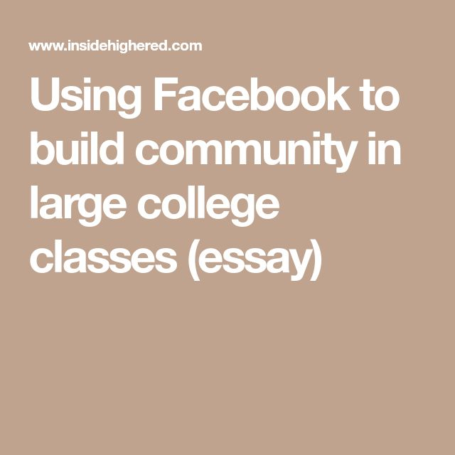 Using Facebook to build community in large college classes (essay)