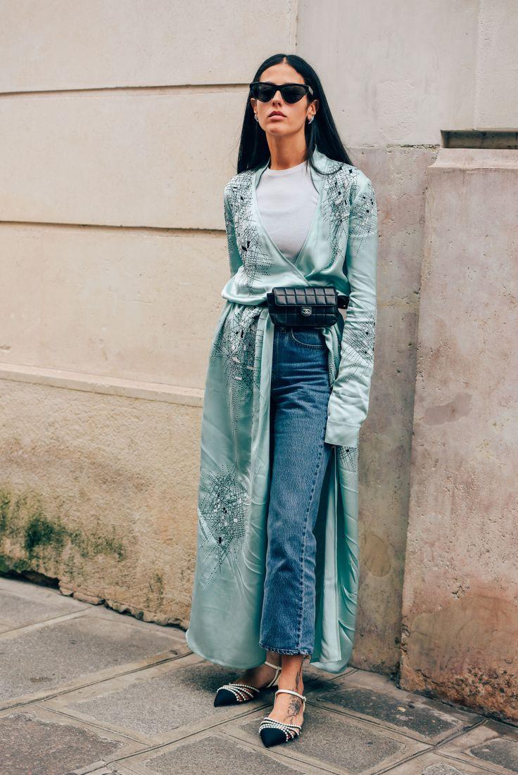 Silk kimono / street style glam / turquoise fashion