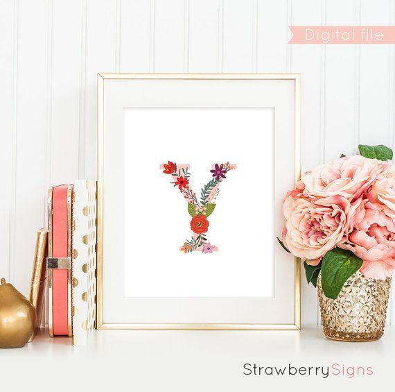 Floral monogram print letter Y monogram sign digital