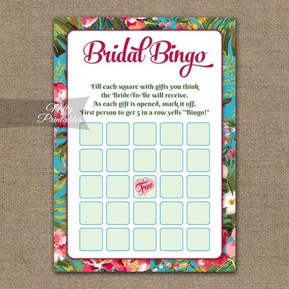 Bridal Shower Bingo Game  Tropical Bridal by NiftyPrintables
