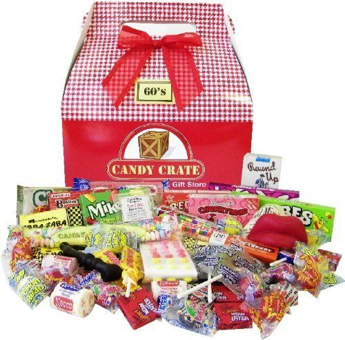 The 1960's Retro Candy Gift Box contains the following full sized and fun sized retro candies: Big Hunk Bar, Boston Baked Beans, Candy Buttons, Candy Cigarettes, Charms Assorted Squares, Charms Sweet & Sour Pops, Cherry Heads, Chiclets Gum, Neapolitan Coconut Bar, Dum Dum Pops, Fizzies,... more details available at https://perfect-gifts.bestselleroutlets.com/gifts-for-holidays/grocery-gourmet-food/product-review-for-1960s-valentine-retro-candy-assortment/