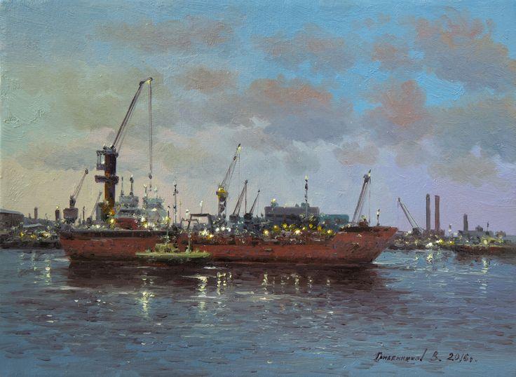 Vasily Gribennikov Evening port, 18*24, 2016