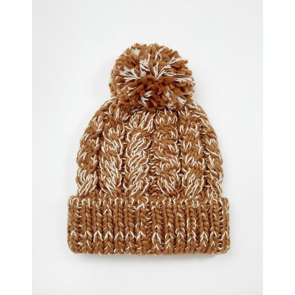 ASOS Cable Bobble Beanie in Camel (1.135 RUB) ❤ liked on Polyvore featuring accessories, hats, asos, asos hats, camel hat, cable hat and bobble hat