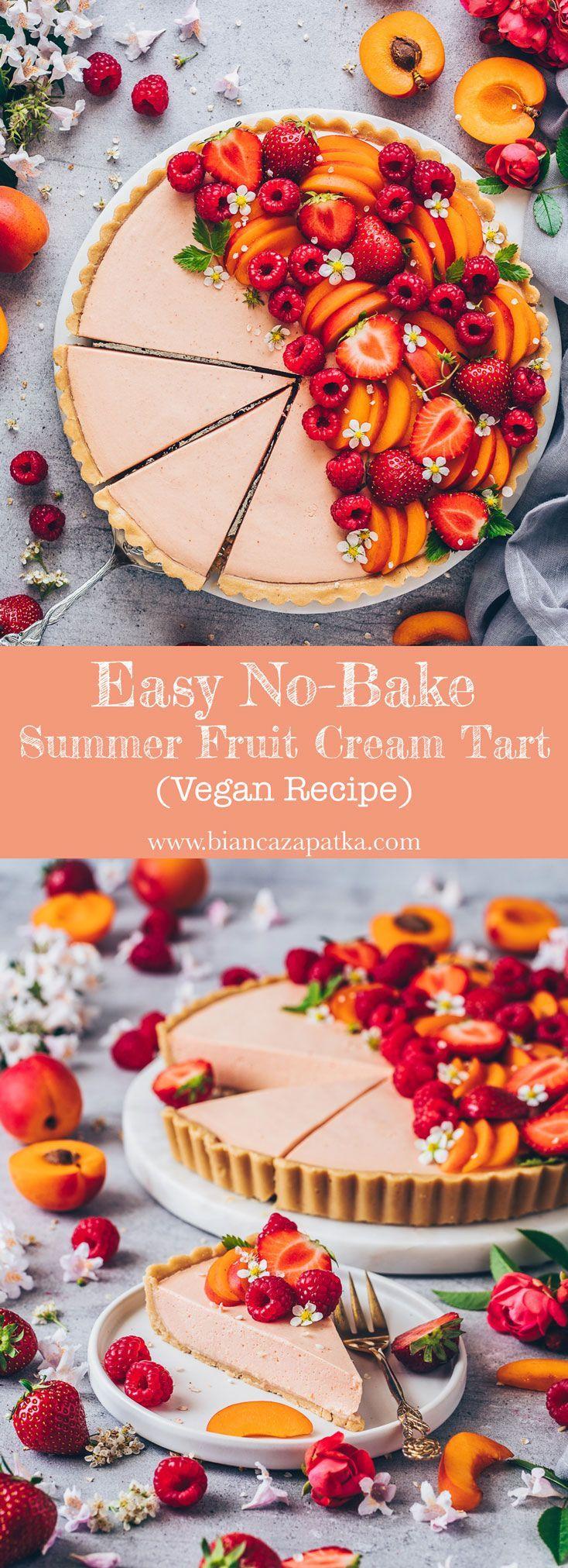 Sommer Obstkuchen Rezept. Leichte vegane No-Bake-Torte aus einfachen Keksen…   – Sommer, Sonne, Strand & Meer