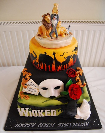 Musical theater cake - love the phantom of the opera piece and wicked!