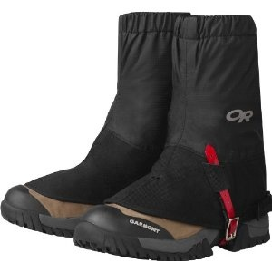 Quality hiking gaiters    No matter if it's a drizzle or a steady downpour, these waterproof hiking gaiters will keep feet and footwear dry on a rainy approach to an outdoor research gaiter.