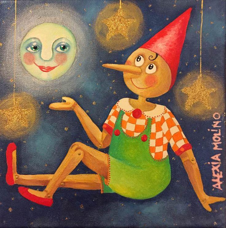 Alexia Molino - Pinocchio e la luna (20x20)
