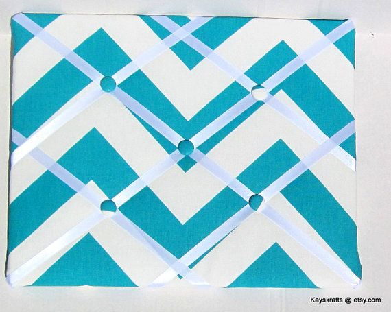 Turquoise and White Chevron ZigZag Memory Board by kayskrafts, $24.99