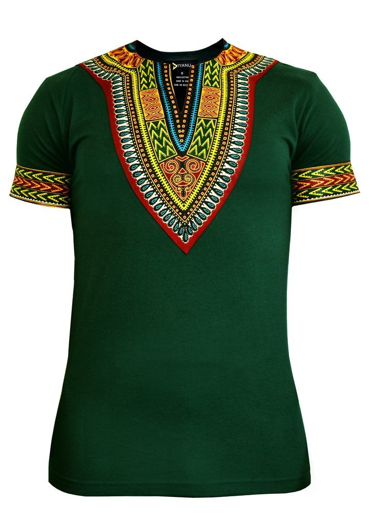 Men's Dashiki T-Shirt (Forest Green) - Modern African Attire - D'IYANU