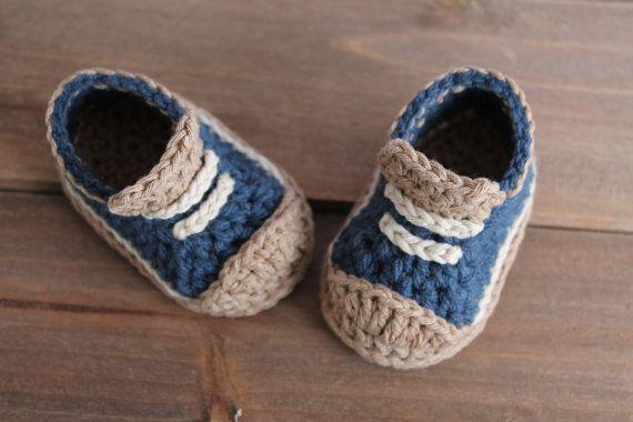 "Crochet Pattern for Boys Booties ""Crete"" Sneaker, Modern Pattern, low top sneaker, blue crochet baby shoes PATTERN ONLY"