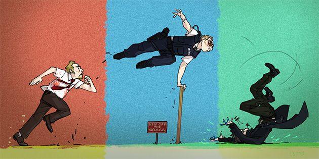 Simon Pegg's Cornetto Trilogy characters by Lissa Treiman