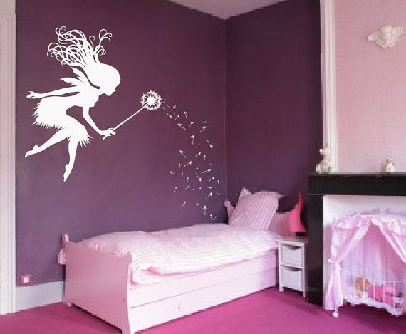 "Fairy Dandelion Wand Wall Decal Nursery Kids Room Tale Sticker 1146 (Choose Color) 28"" wide x 45"" tall"