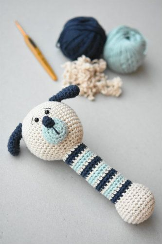 Puppy rattle made from an unfinished toy