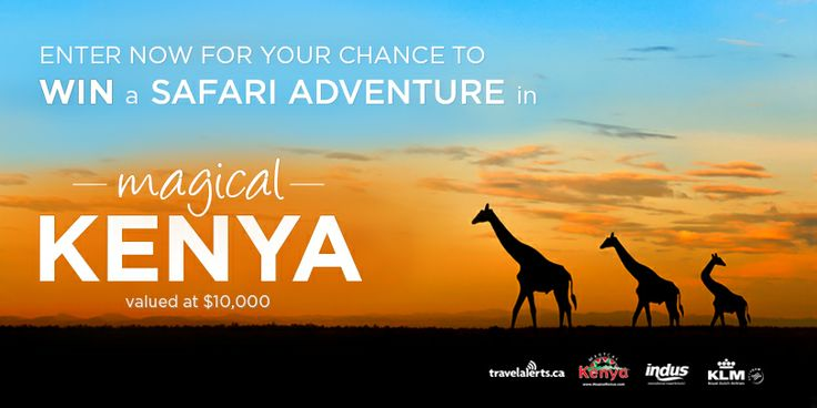 I just entered to WIN a FREE 7-day Kenya Safari from TravelAlerts, Kenya Tourism Board, KLM, and Indus. Enter NOW for your chance!