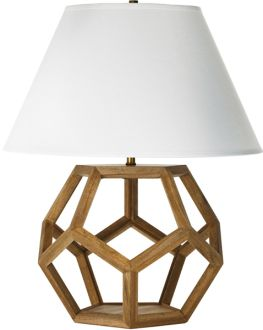 dustin dodecahedron table lamp via Lonny mag. Love the jewel facets but in wood!