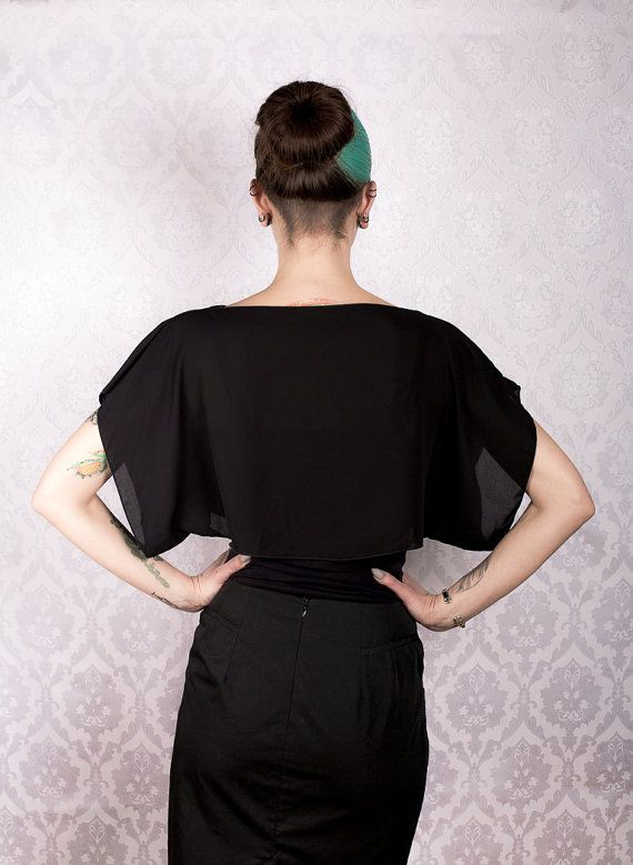 Black Chiffon Top by KitsuneCoutureFI on Etsy