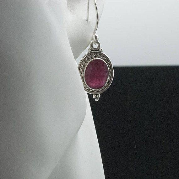 Ruby Earrings 925 Silver Drop Red Gemstone Earrings Natural