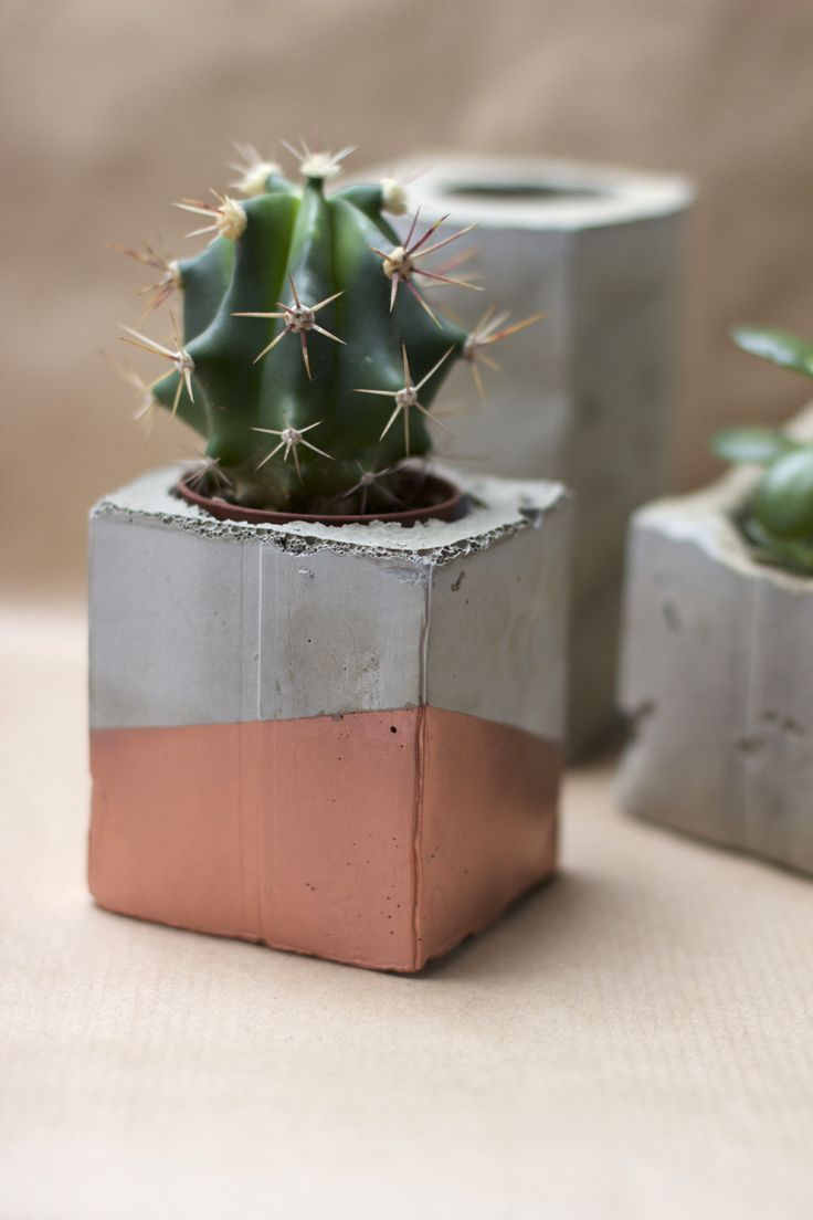 diy concrete and copper plant pots