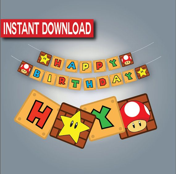 Super Mario Birthday Banner-Instant download by Stardyprintables