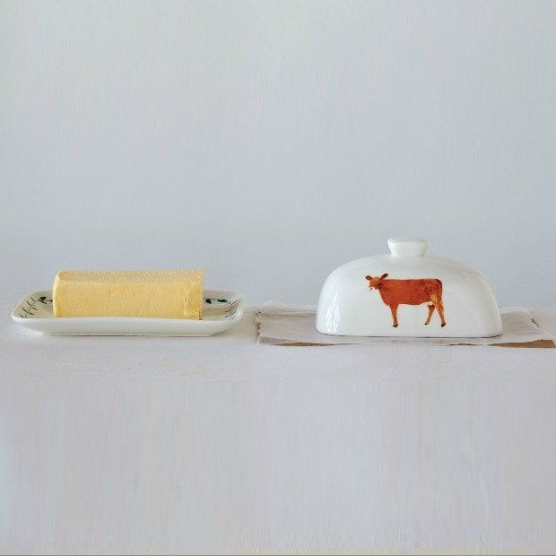 Farmhouse Butter Dish With Painted Cow