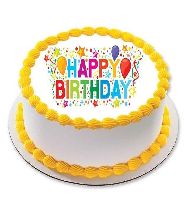 Happy Birthdy Celebration Edible Cake Image Topper